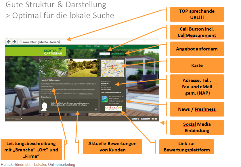 on page optimierung lokale suche